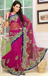 Rani+Pink+Color+Net+Designer+Sarees+with+Blouse