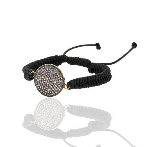 Diamond Disc Charm Macrame Bracelet