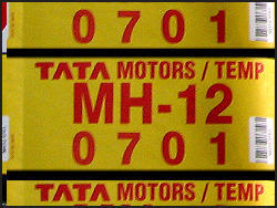 temporary number plates