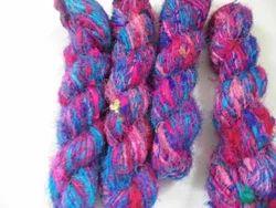 Multi Colored Sari Silk Yarns Made From Recycled Silk Fiber