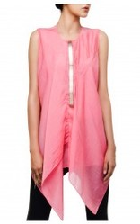 Fluorescent Pink Asymmetrical Drape Top