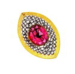 14k gold uncut diamond ruby ring antique jewelry