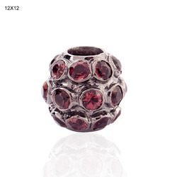 925 sterling silver pink tourmaline spacer balls