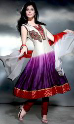 White and Purple Chanderi Silk Readymade Churidar Kameez