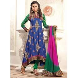Magical Royal Blue & Emerald Green Anarkali Suit