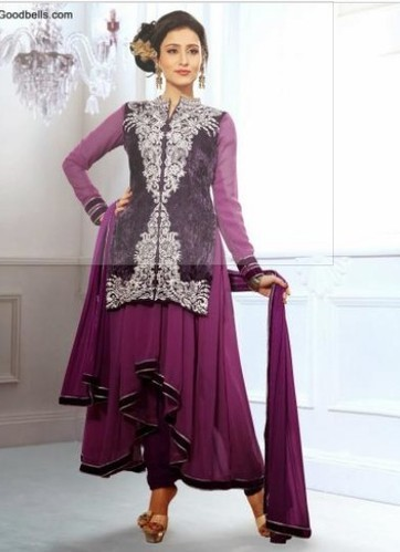 be04b9bd387 Plus Size Salwar Kameez - Designer Pruple Shade Embroidered Salwar ...