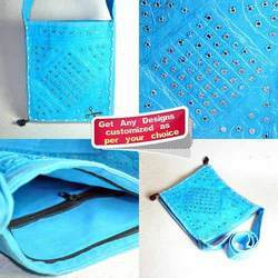 Blue Mirror Work Drawn String Sling Bag