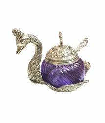 Metallic Glass Swan Bowl