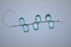Aquamarine Quartz Faceted Oval Briolette