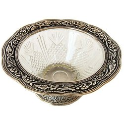 Circular White Metal Bowl