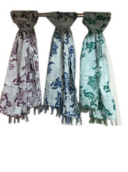 Kantha New Cotton Lotus Design Scarves