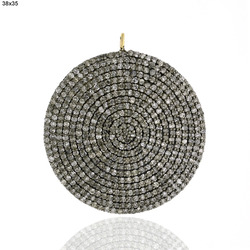 Pave Diamond Disc Shape Pendant Jewelry