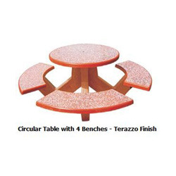 Circular Table with Four Bench