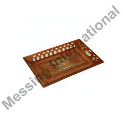 Wooden Trays with Brass Inlay Work