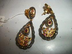 Indian Style Ruby Diamond Earring