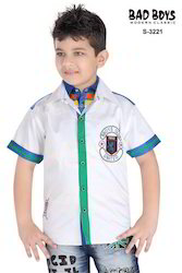 Kids White Cotton Shirts