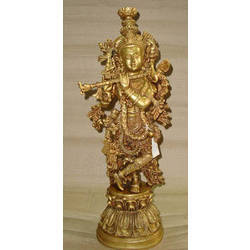 Krishna Standing w/ Double Mala Carved