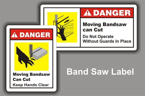 Industrial Machine Safety Labels Band Saw Safety Decals