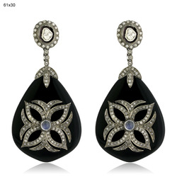 Pave Diamond Black Onyx Gemstone Earrings