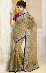 Light+Cream+Color+Net+Sarees+with+Blouse