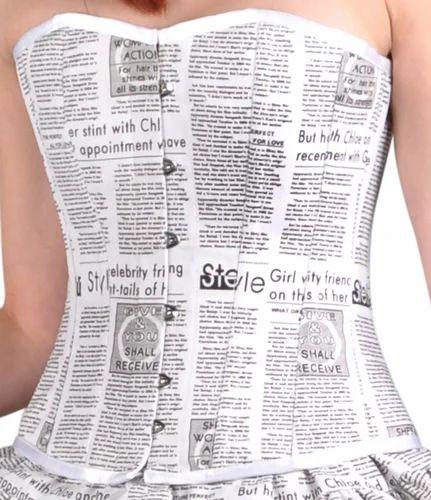 Newspaper print Overbust Corset