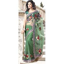 Net Green Fancy Saree