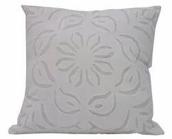 Organdi On Cotton Applique Cutwork Cushion Cover