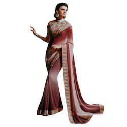 Party Wear Plain Saree