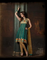 Readymade Salwar Kameez Green Beige Brown