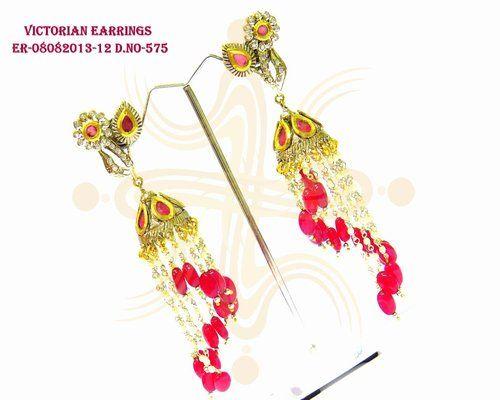 Victorian Red Drops Earrings
