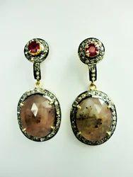 Rose Cut Diamond Sapphire Earings
