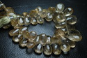 AAA Golden Rutilated Faceted Pear Shape Briolettes, Strand 8