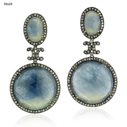 Pave Diamond Gemstones Drop Earrings