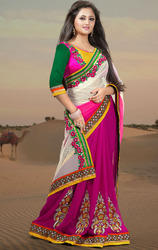 Deep+Pink%2C+Off+White+Faux+Georgette%2C+Net+Saree+with+Blouse