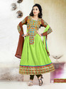 Green Brown Semi Stitched Anarkali Suit