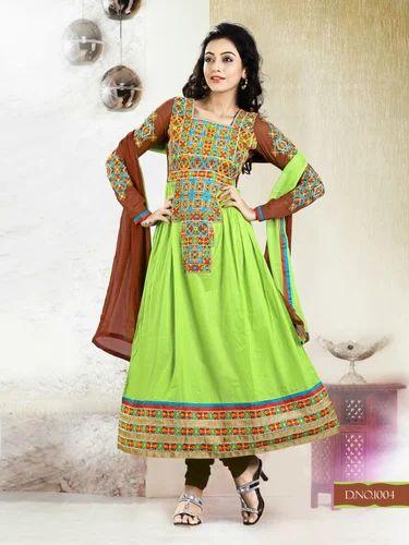 Green Brown Semi Stitched Anarkali Suit