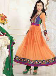 Light Orange Faux Georgette Churidar Kameez with Dupatta
