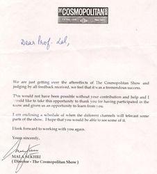 Cosmopolitan Letter of Thanks!