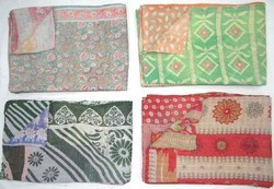Handmade Old Reversible Bedding Kantha Quilts