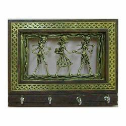 Tribal Frame Key Holder Dhokra Painting Tribal Arts