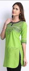 Green Elegant Green Kurti With Screen Print
