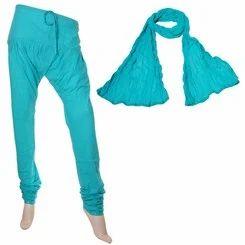 Scuba Blue Colour Chudi Bottom & Cotton Dupatta Set