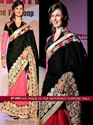 Black With Pink Colour Party Wear Fancy Saree