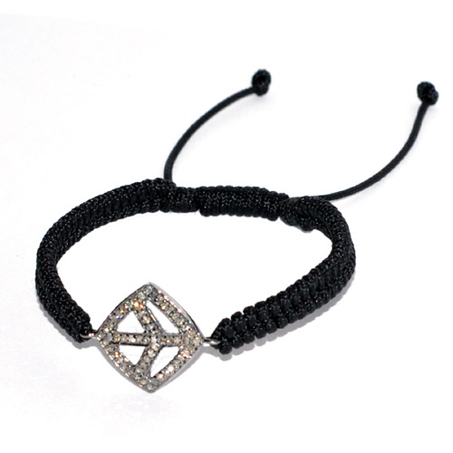 Macrame Bracelet Diamond Peace Sign Charm