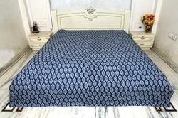 Kantha Quilt Handblock Indigo Blue Gudri Bed Cover