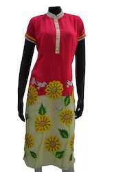sf0114 pink and cream coloured georgette kurtis