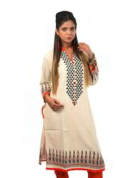 Beige+Cotton+Linen+Kurta+with+contrast+printing+on+the+front