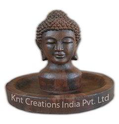 Wooden Effect Buddha Fountain Sculpture