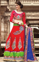 Blue+Maroon+and+Green+Color+Faux+Georgette+Lehenga+Saree
