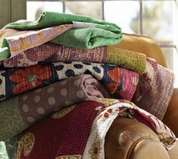 Reversible Old Bengali Kantha Quilt Throw Bedspread